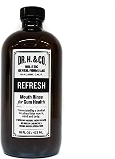 Dr. H. & Co. Dentist Formulated Refresh Mouthwash - All Natural Herbal and Holistic Mouth Rinse for Healthy Gums and Teeth (16 oz Glass Bottle)
