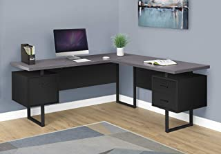 Monarch Specialties Computer Desk L-Shaped Corner Desk with Drawers on Both Sides - Left or Right Facing - 70