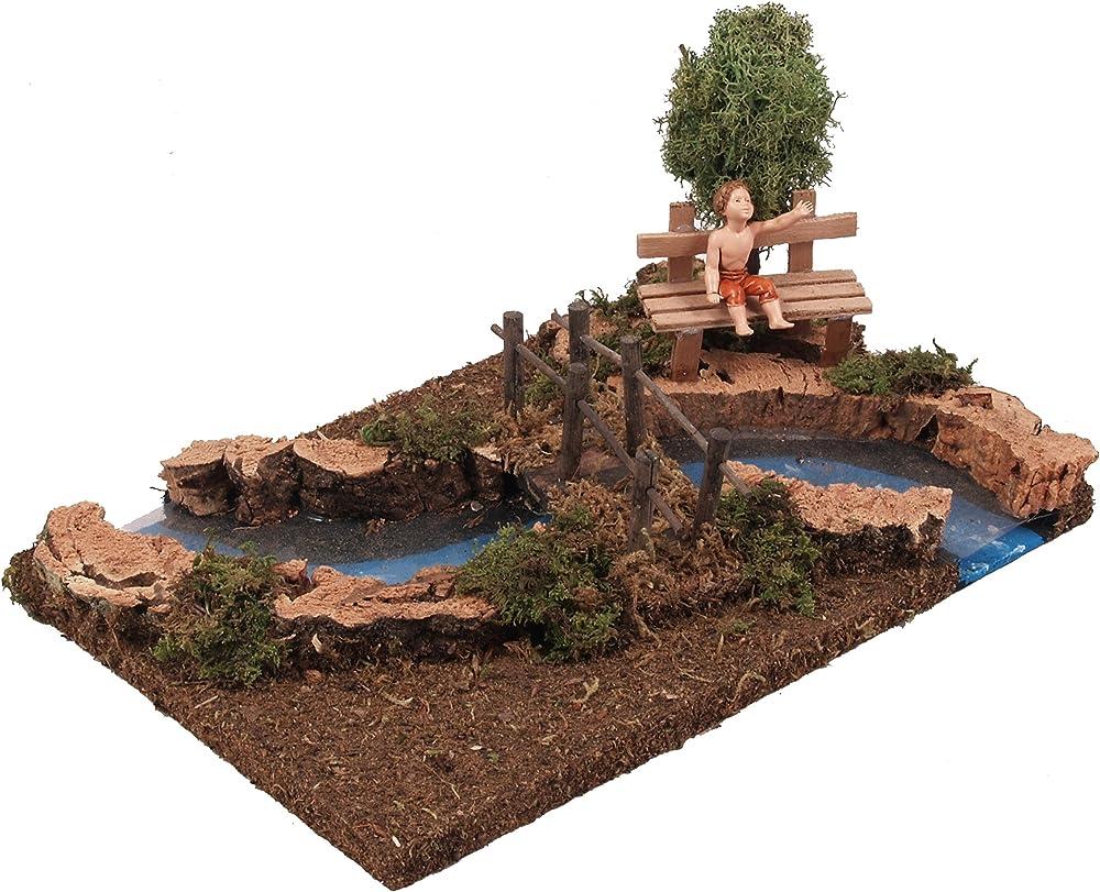Ferrari & arrighetti ,fiume,con piccolo ponte,albero,e pastorello seduto sulla panchina Bertoni_535