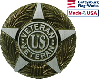 Aluminum Grave Marker Universal Service, US Veteran Plaque, Cemetery Memorial Flag Holder, Made in USA
