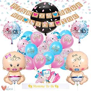 Baby Gender Reveal Party Supplies Kit For Baby Boy Or Girl · Gender Reveal Decorations Include Jumbo Confetti Balloon, Pink Blue and Champagne Gold Confetti, Assorted Pink and Blue Gender Reveal Balloons, Photobooth Props Sash & Banner