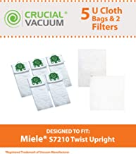 Think Crucial 5 Replacement for Miele U HEPA Style Cloth Bags & 2 Micro Filter Fits S7210 Twist, Compatible with Part # 07282050