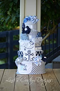 Whale Nautical Embroidered Diaper Cake