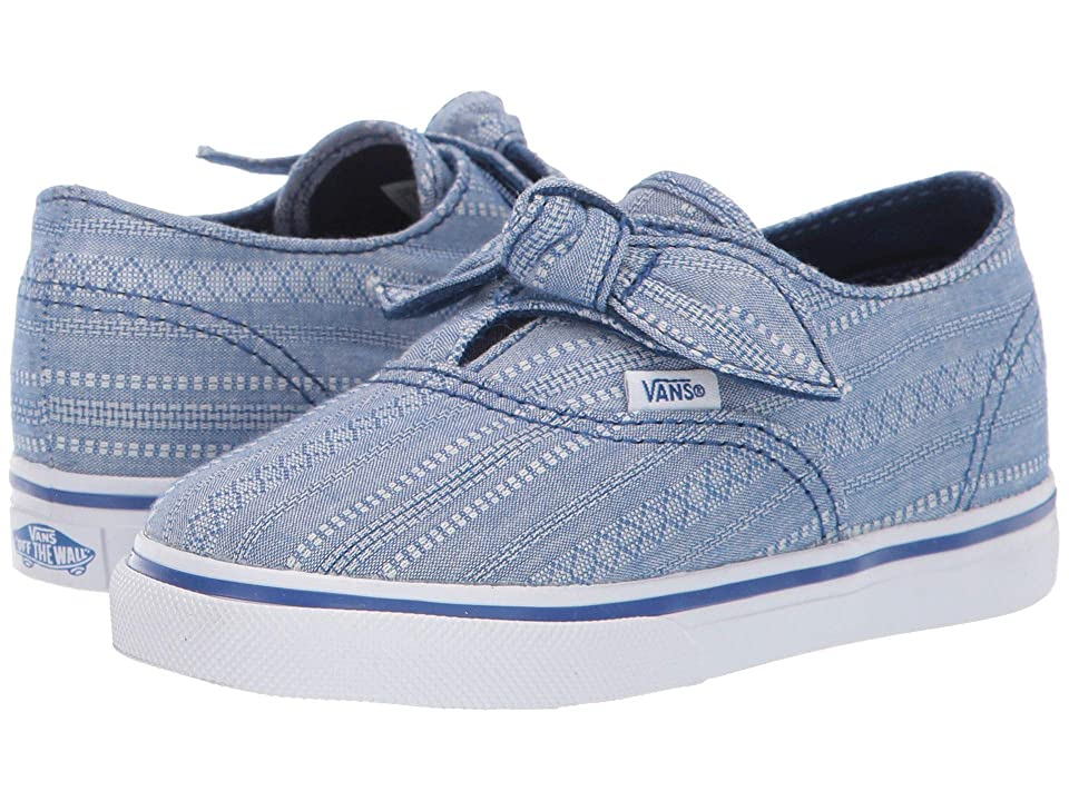 Vans Kids Authentic Knotted (Infant/Toddler) ((Lace Chambray) True Blue/True Blue) Girls Shoes