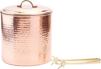 Old Dutch International 3 Qt. Hammered Copper Ice Bucket with Tongs