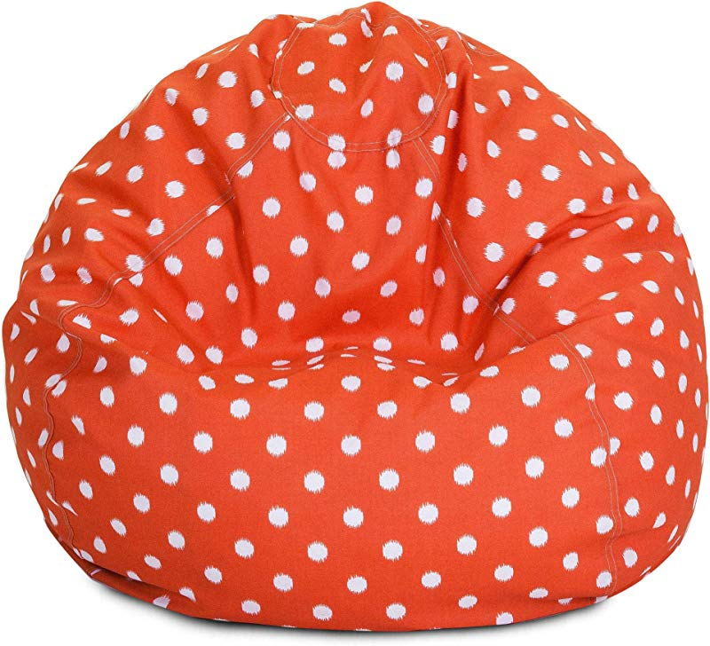 Majestic Home Goods Classic Bean Bag Chair Ikat Dots Giant Classic Bean Bags For Small Adults And Kids 28 X 28 X 22 Inches Orange