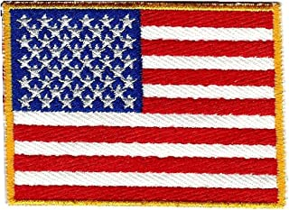 American Flag Embroidered Patch Gold Border Subdued Military Uniform Emblem USA