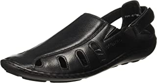 Healers (from Liberty) Men's FDY-0161 Black Leather Sandals-9 UK/India (43 EU) (5131609100430)