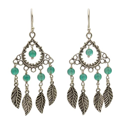 307efd074 NOVICA Green Agate .925 Sterling Silver Chandelier Earrings, Garden Leaves'