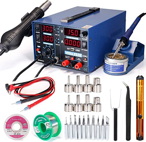 high quality YIHUA 853D 2A new arrival USB Professional Soldering Rework and Power Supply Station bundle with #2300 Hot Air Nozzles with Iron Holder, Cleaning Kit, and Accessories (29 new arrival Items) online