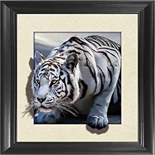 White Snow Tiger 5D / 3D Poster Wall Art Decor Framed Print | 18.5x18.5 | Lenticular Posters & Pictures | Memorabilia Gifts for Guys & Girls Bedroom | Wild Black & White Jungle Cat Home Decorations
