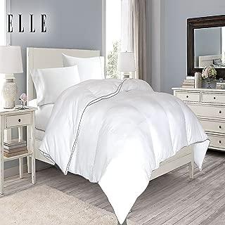 Blue Ridge Home Fashions Elle 1200 Thread Count Cotton Rich Solid Down Alternative Comforter, White, King