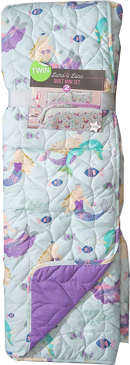 Luna & purplec Kids Turqouise Mermaids and Narwhals Bedding Quilt Set (Twin)