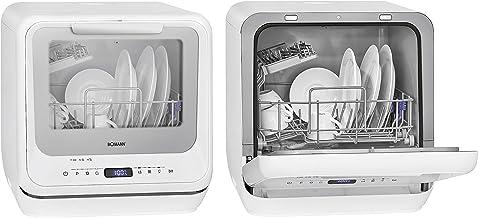 Bomann TSG 7402.1 Geschirrspüler/Tischgeschirrspüler, mit und ohne Wasseranschluss nutzbar, 5 Programme, 5L Wassertank und Innenbeleuchtung, Weiß