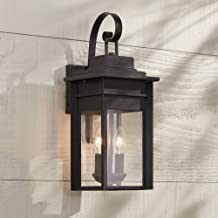 Bransford Traditional Outdoor Wall Light Fixture Lantern Black Specked Gray 17