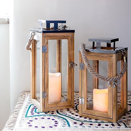 Lights4fun Lanterna In Legno Di 34cm Con Candela Led A Pile E Manico In Corda Per Interni Amazon It Casa E Cucina