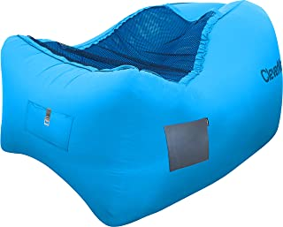 CleverMade Inflatable Lounger Air Chair: Lightweight Recliner Style AirChair Chill, Portable Outdoor Beach Chair with Carry Bag, Storage Pockets, and Bottle Opener, Blue