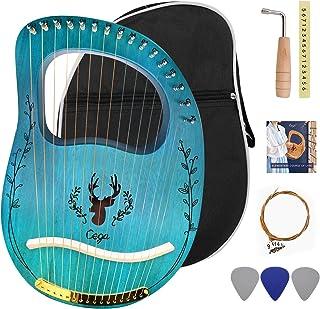 Lyre Harp 16 Strings، Solid Mahogany Woods Body Metal Strings Musical Instrument for Adult / Kids، لوازم جانبی با آچار تنظیم و کیسه گیگ بادوام