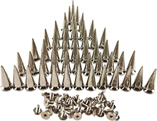 50PCS Silvery Cone Spikes Metallic Screw Back Studs DIY Craft Cool Rivets Punk 10 X 25mm by CSPRING