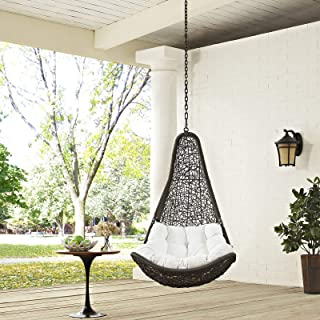 Modway EEI-2657-GRY-WHI-SET Abate Wicker Rattan Outdoor Patio with Hanging Steel Chain, Swing Chair Without Stand, White