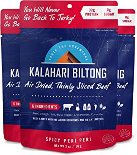 Kalahari Biltong | Air-Dried Thinly Sliced Beef | Spicy Peri Peri | 2oz (Pack Of 3) | Sugar Free | Keto & Paleo | Gluten Free | Better Than Jerky