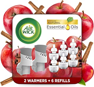 Air Wick Plug in Scented Oil Starter Kit, 2 Warmers + 6 Refills, Apple Cinnamon, Fall scent, Fall spray, Eco Friendly, Ess...