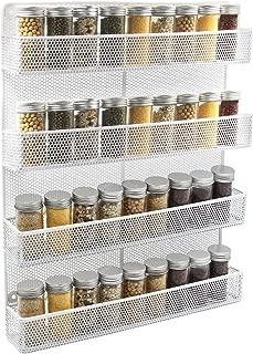 TQVAI 4 Tier Wall Mount Spice Rack Organizer Large Kitchen Spice Storage Shelf, White