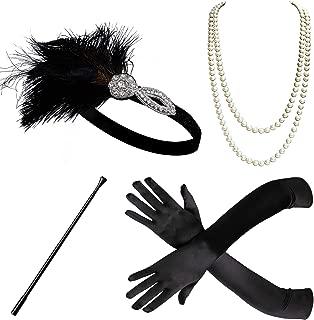BABEYOND 1920s Flapper Accessories Set Gatsby Costume Accessories 20s Flapper Headband Pearl Necklace Gloves Cigarette Holder