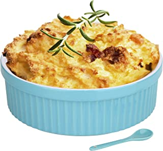Souffle Dish Ramekins for Baking – 64 Oz, 2 Quart Large Ceramic Oven Safe Round Fluted Bowl with Mini Condiment Spoon for Soufflé Pot Pie Casserole Pasta Roasted Vegetables Desserts (Aqua/Green Set)