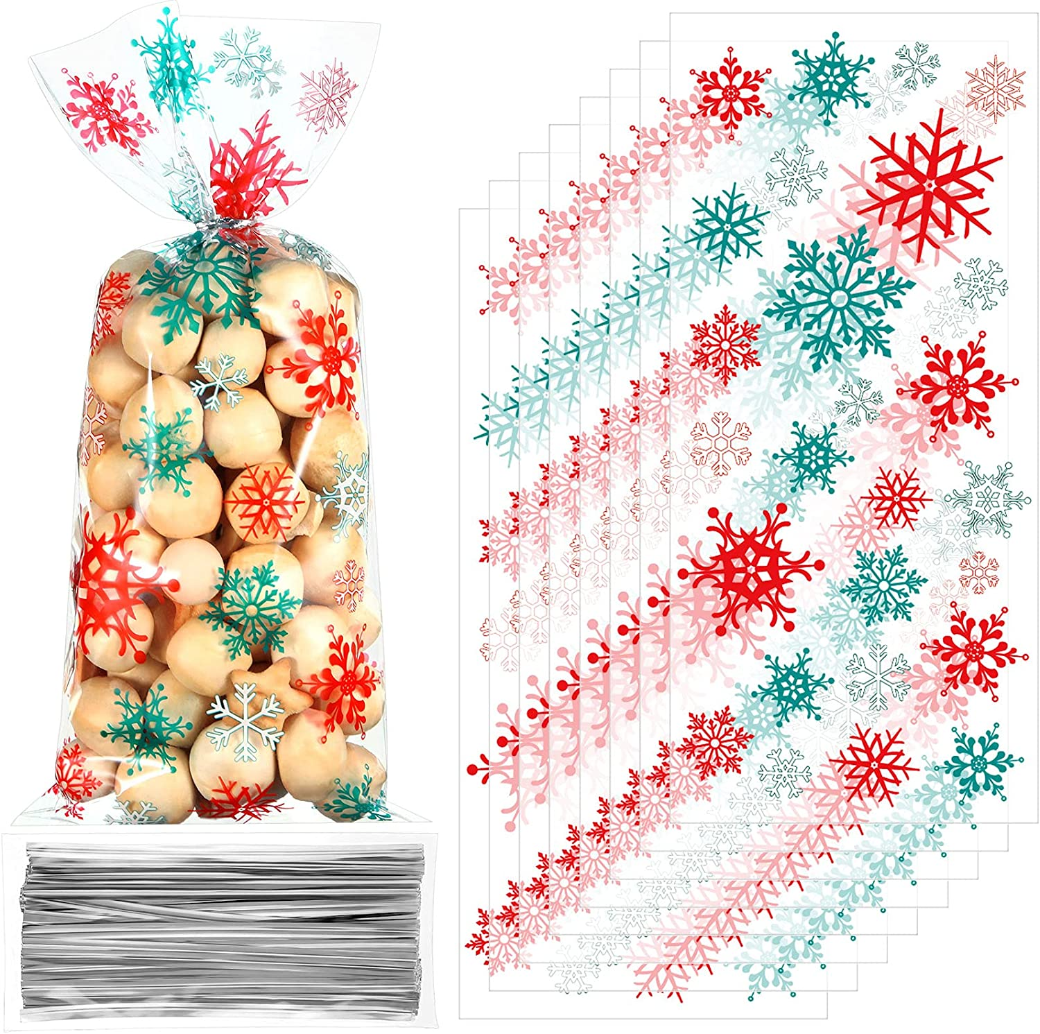 100 Pieces Christmas Cellophane Bags Snowflake Cello Treat Bags Xmas Plastic Candy Goodie Cookie Bags with 100 Silver Twist Ties for Christmas Gift giving Winter Holiday Party Favors,Red and Green