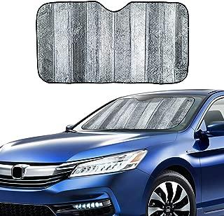 "VaygWay Windshield Sun Shade Car- Foldable Window Cover Visor Shield- UV Rays Reflector Auto Accordion Protector- Front Window SUV Heat Blocker- 53"" x 27"" Metallic Reflective Large Vehicle Sunshade"