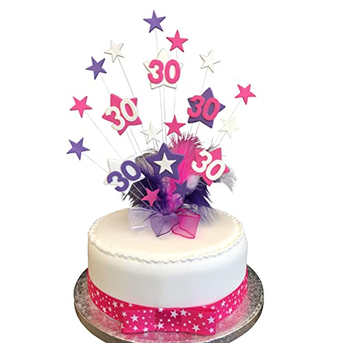 30th Hot Pink Purple White Star Birthday Cake Topper With Marabou Feathers PLUS 1