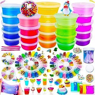 comprar comparacion DIY Slime Kit - 24 Colores Kit de Slime Esponjoso con 48 brillantinas, Suministros de Slime Claro para niños, Incluye Arci...