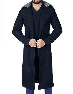Mens Long Length Hardy Fur Collar Delaney Wool Black Trench Coat
