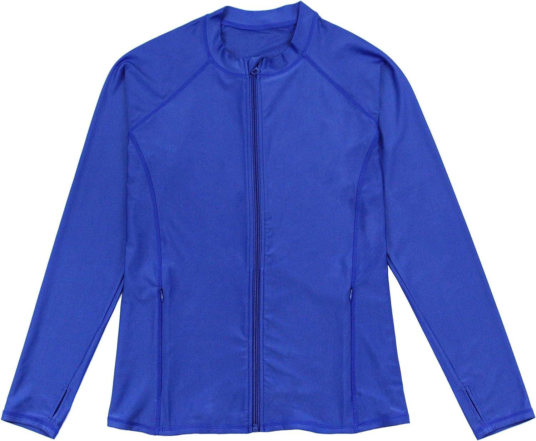 SwimZip Women's Long Sleeve Rash Guard with Pockets - UPF 50+   Multiple Colors