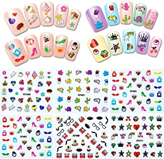 ALLYDREW 30 Sheets Funky Patterns Nail Art Nail Stickers 3d Nail Decals Nail Art for Children