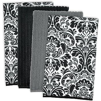 DII CAMZ34110 Trapo para Platos Ultraabsorbente, de Damasco de Microfibra, para Limpiar, Lavar y Secar, Juego de 4, Negro