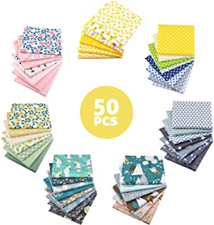 Aubliss 50pcs Quilting Cotton Craft Fabric Bundle (100% Cotton - 9.8in x 9.8in / 25cm x 25cm) Pre-Cut Squares Sheets Print...