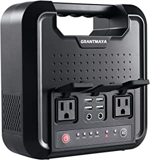 GrantMaya Portable AC Power Bank, 300Watts 220Wh Pure SineWave Power Station Inverter, Generator, Power Charger, Battery Packs with 110V AC Outlet, 12V DC USB for Camping, CPAP