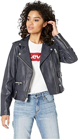 74c30b966 Levis faux leather fashion moto jacket w racer collar