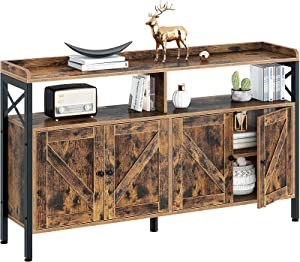 Rolanstar Console Table with Cabinet, Sideboard Buffet with Storage Cabinet and Open Shelf, Sofa Console Table for Entryway, Hallway, Home Kitchen, Living Room, Rustic Brown, 55Inch