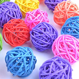pranovo 20 Pack Parrot Wicker Rattan Toy Balls Birds Vine Ball Cage Accessory Colorful Chewing Toys Pet Bird Chew Toy Table Wedding Party Decorative Crafts Hanging DIY Accessories Random Color