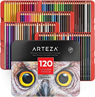 Arteza Professional Colored Pencils for Adults & Kids, Set of 120, Portable Tin Case, Break-Resistant Cores, for Coloring, Drawing, Shading