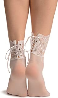 White Opaque With Corset Back Lace - Socks