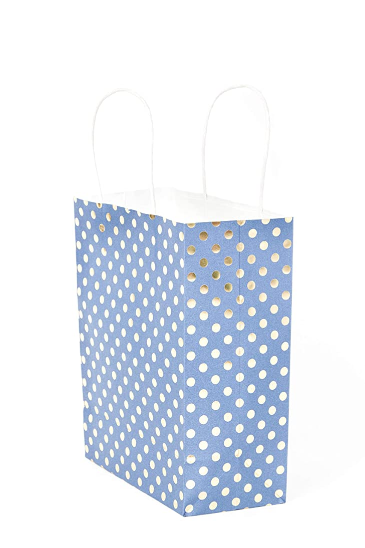 Medium Size Gift Bags with Handles Blue Kraft Paper with Metallic Gold Foil Polka Dot Hot Stamp for Christmas Holiday, Birthday Party, Wedding, Baby and Bridal Shower 8 x 10 Bulk Pack (Set of 10)