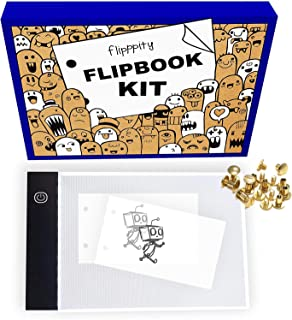 Flip book Flipbook kit with light pad and 200 sheets 3x5 pre-drilled flipbook paper.