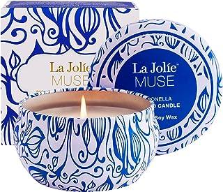 La Jolíe Muse Vela Citronela - Vela aromatica en Interiores y Exteriores, cera de soja, lata, 35-45 horas