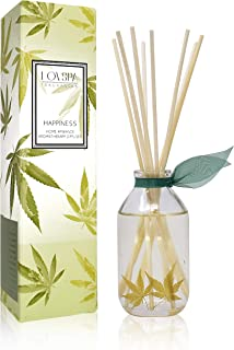 LOVSPA Cannabis Essential Oil Reed Diffuser Gift Set - Happiness - Earthy-Woody Notes with Apricot, Balsam, Minty Patchouli & Amber, Made in The USA