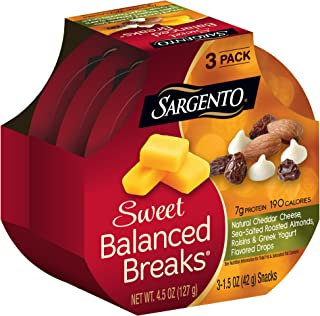 Sargento Sweet Balanced Breaks Natural Cheddar Cheese with Sea-Salted Roasted Almonds, Raisins and Greek Yogurt Flavored Drops, 1.5 oz, 3-Pack
