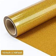 """JANDJPACKAGING Gold Glitter HTV Vinyl Roll - 10"""" x 10FT Glitter Heat Transfer Vinyl for Cricut and Silhouette Cameo"""